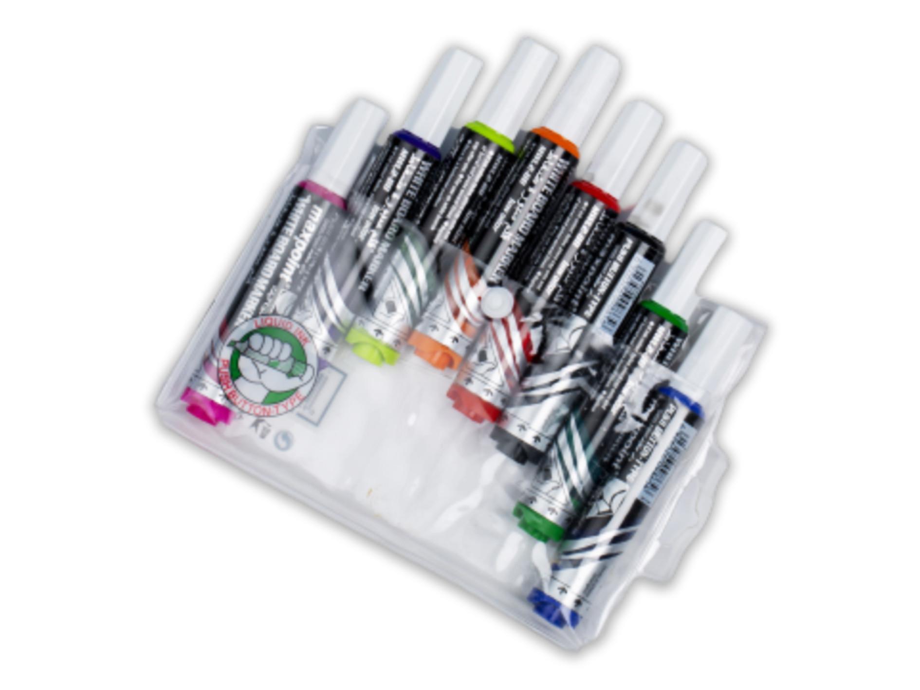 أقلام سبورة بيضاء ماكس بوينت - 8 ألوان