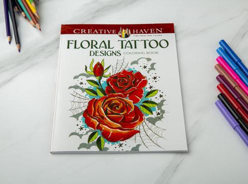 دفتر تلوين الأزهار- تصاميم الوشم