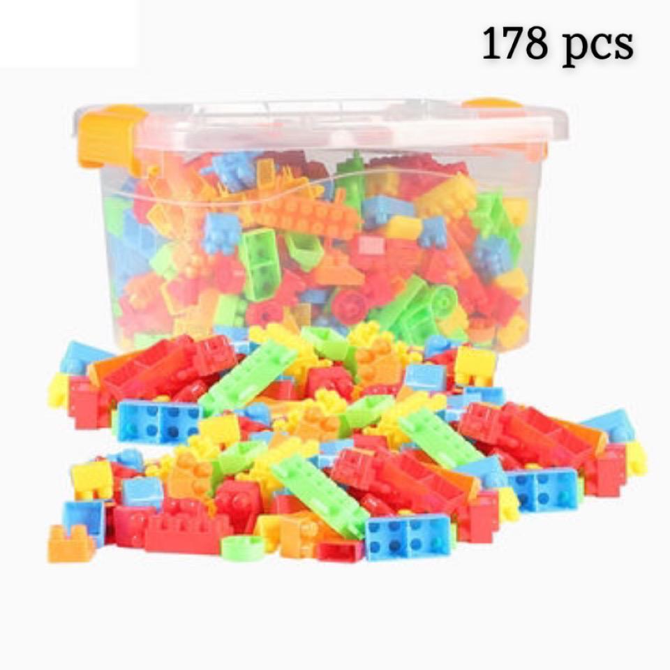 تركيب مكعبات 178 قطعة صندوق شفاف